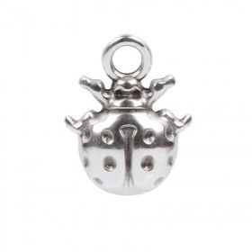 Antique Silver Plated Zamak Ladybird Charm 13x17mm Pk 1