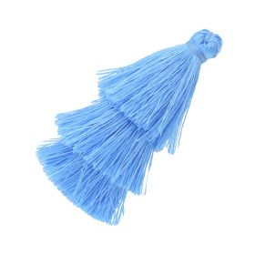 Tassel / viscose thread / triple layer / 70mm / width 7mm / light blue / 1pcs