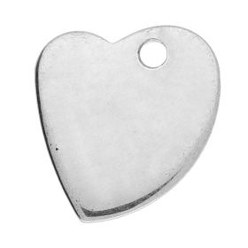 Heart / pendant / surgical steel / 12x10x1mm / silver / 4pcs