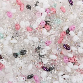 White/Crystal Preciosa Twin Hole Seed Bead Mix 2.5x5mm 50g