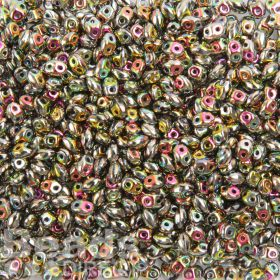 Preciosa Twin Hole Pressed Seed Beads Pink/Yellow Rainbow 2.5x5mm 10g