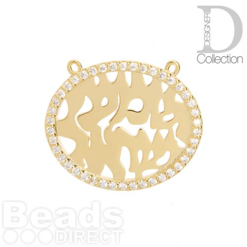 Gold Plated Fancy Oval Charm with 2 Top Loops Cubic Zirconia Edge 22x27mm Pk1
