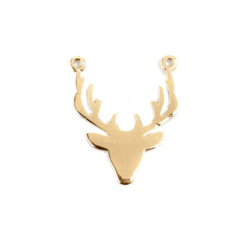 Gold Plated Sterling Silver 925 Stag Head Connector Charm 19x22mm Pk1