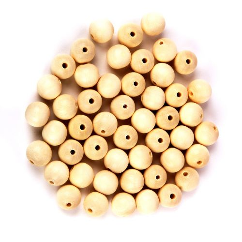 Preciosa Wood Beads 12mm Cream Pk50