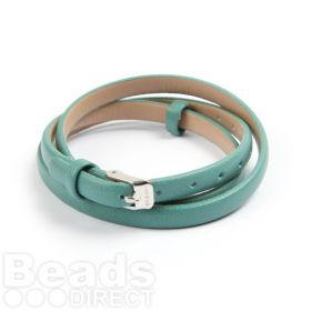 Green Faux Leather Bracelet Strap with Buckle and Holes 62cm Pk1