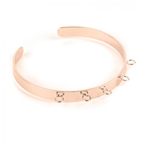 Rose Gold Plated Brass Bracelet 60x40mm with 5 Loops Pack 1