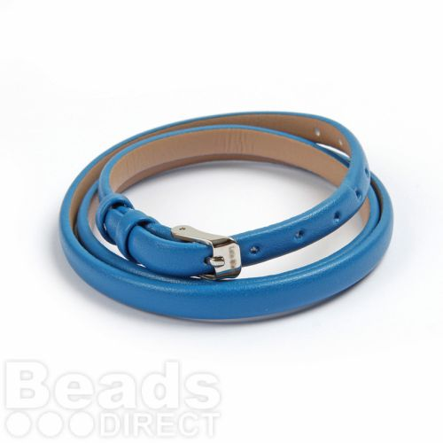 Blue Faux Leather Bracelet Strap with Buckle and Holes 62cm Pk1