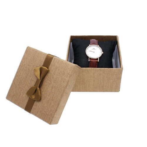 Gift box / bow and pillow / 9x9x6cm / brown / 1pcs