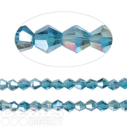 X- Essential Crystal 6mm Bicones Aqua AB Pk50