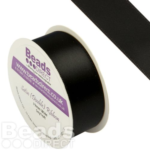 Black Double Satin Ribbon 19mm Sold on a 5 Metre Reel