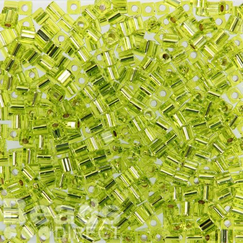 Miyuki Cube Beads 4mm Silver-Lined Lime 10g