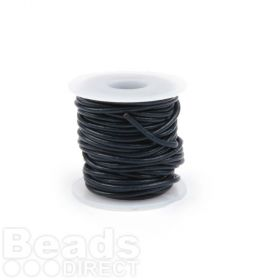 Dark Navy Blue Round 1mm Leather Cord 5metres