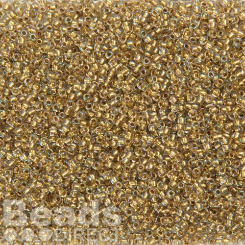 Toho Size 11 Round Seed Beads Inside Colour Crystal Gold Lined 10g