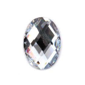 Acrylic Oval Faceted Flat Backs 13x18mm Pk10