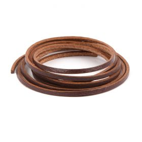Brown Flat Leather Cord 2mm Pre Cut 1metre