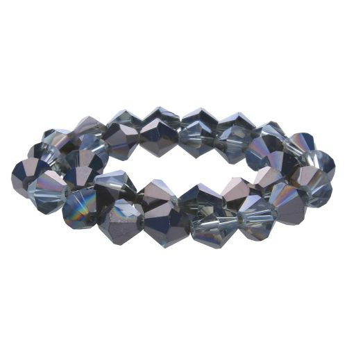 CrystaLove™ crystals / glass / bicone / 8mm / graphite / transparent / lustered / 40pcs