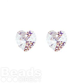 6228 Swarovski Crystal Hearts 10mm Crystal White Patina Pk2