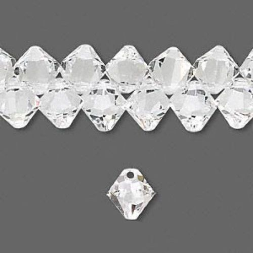 6328 Swarovski Crystal Bicones Xillion Top Drilled 8mm Crystal Clear Pk6