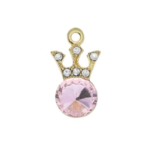Glamm ™ Spotlight  Crown / charm pendant / with zircons / 18x9.5x5mm / antique gold plated / pink / 1pcs