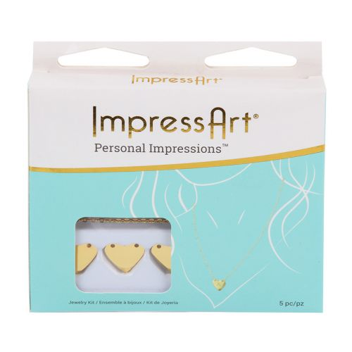 ImpressArt Personal Impressions Gold Plated Heart Connector Necklaces Pk5