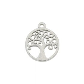 Tree / charm / surgical steel / 12x10mm / silver / 2pcs