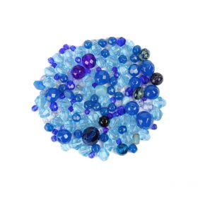 X-Preciosa Czech Blue Glass Beads Mix 50g