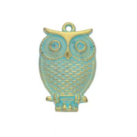 Owl / charm pendant / 28x17.5x4.5mm / antique gold - aqua / 2pcs