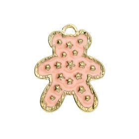 SweetCharm ™ Teddy / charm pendant / 19.5x15.5x2.5mm / gold plated / apricot / 2pcs