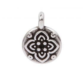 Antique Silver Zamak Small Flower Coin Charm 8mm Pk5