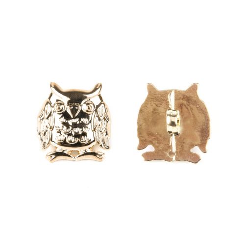 Gold Colour Acrylic Owl Button Underside Hole 17mm Pk2