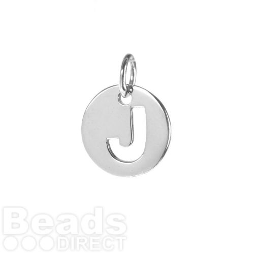 Sterling Silver 925 'J' Letter Cut Out Charm 11mm Pk1