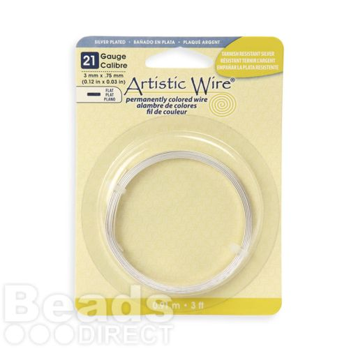 Beadalon Artistic Wire Silver Plated Flat Wire 21 Gauge 0.75x3mm 3ft Coil