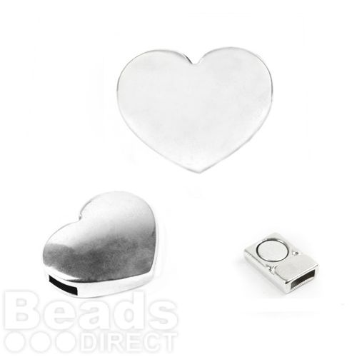 Antique Silver Magnetic Heart Clasp for 5mm Cord 16x20mm Pk1