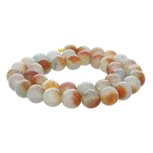 Agate / faceted round / 10mm / white-honey / 35pcs