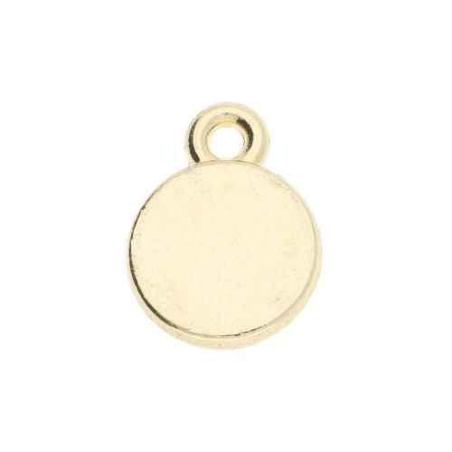 SweetCharm ™ Disc / pendant / 11x8mm / gold plated / white  / hole 1mm / 4pcs
