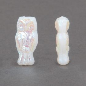 White Rainbow Preciosa Czech Glass Owl Beads 7x15mm Pk20
