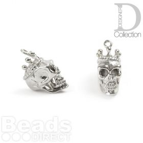 Rhodium Plated Brass Skull with Crown Charm 8x15mm Pk1