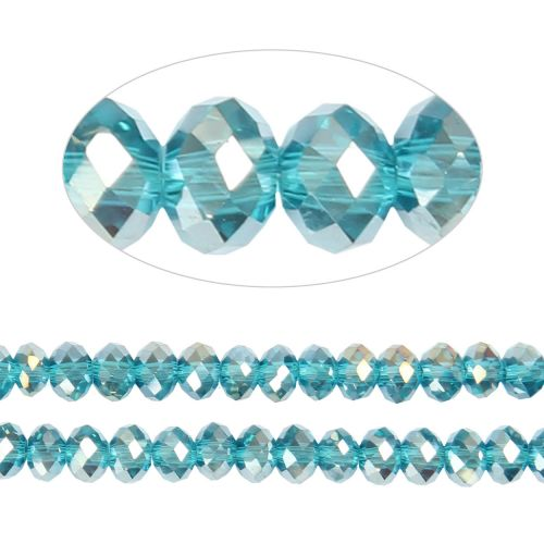 X- Essential Crystal Faceted 6mm Rondelle Aqua AB 100pack