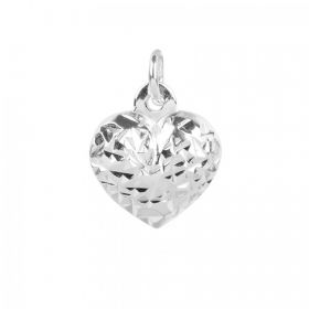 Sterling Silver 925 Diamond Cut Heart Charm with Loop 10x11mm Pk1
