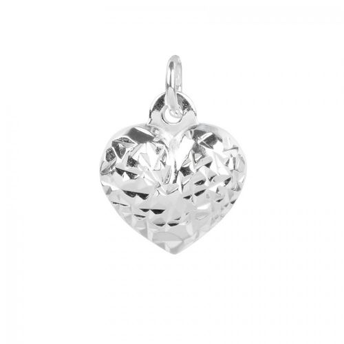 X Sterling Silver 925 Diamond Cut Heart Charm with Loop 10x11mm Pk1