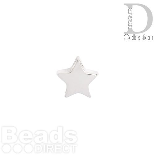 Sterling Silver 925 Small Star Beads 7mm Top Drilled Pk2