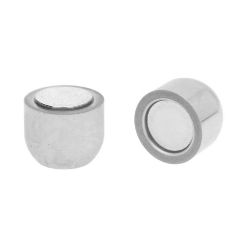 Magnetic clasp / surgical steel / oblong / 20x13mm / silver / hole 8mm / 1pcs