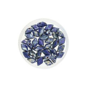 GEMDUO™ / 8x5mm / Silver Picasso / Opaque Blue / 5g / ~35pcs