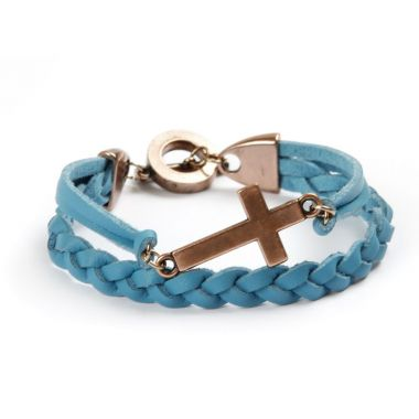 Blue Cross Memory Bracelet