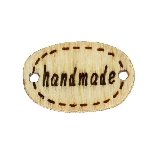 Labels for jewellery / handmade / 18x11x3mm / cream / 10pcs