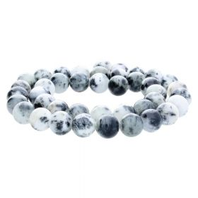 Jade / round / 12mm / white-black-grey / 34pcs