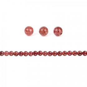 Strawberry Quartz Semi Precious Round Beads 6mm Pk20