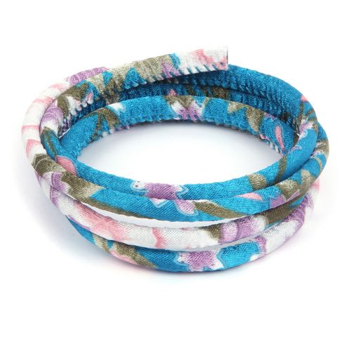 Turquoise Floral Fabric Round Cord 6.5mm 1metre