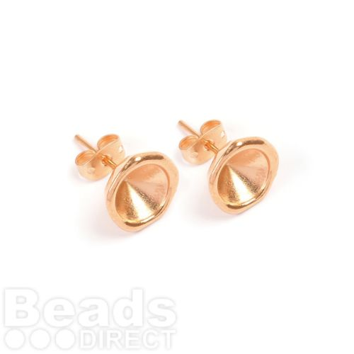 Rose Gold Plated Zamak Earring Cup for SS39(8mm) Chatons 11.5mm with Backs 1xPair