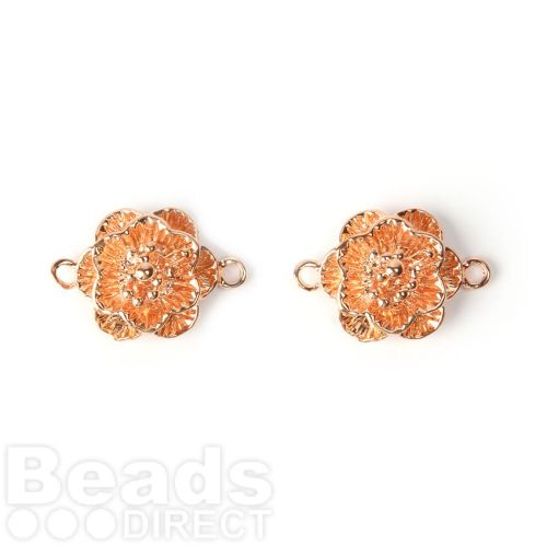 Rose Gold Plated Flower Connector Charm 13mm Pk2